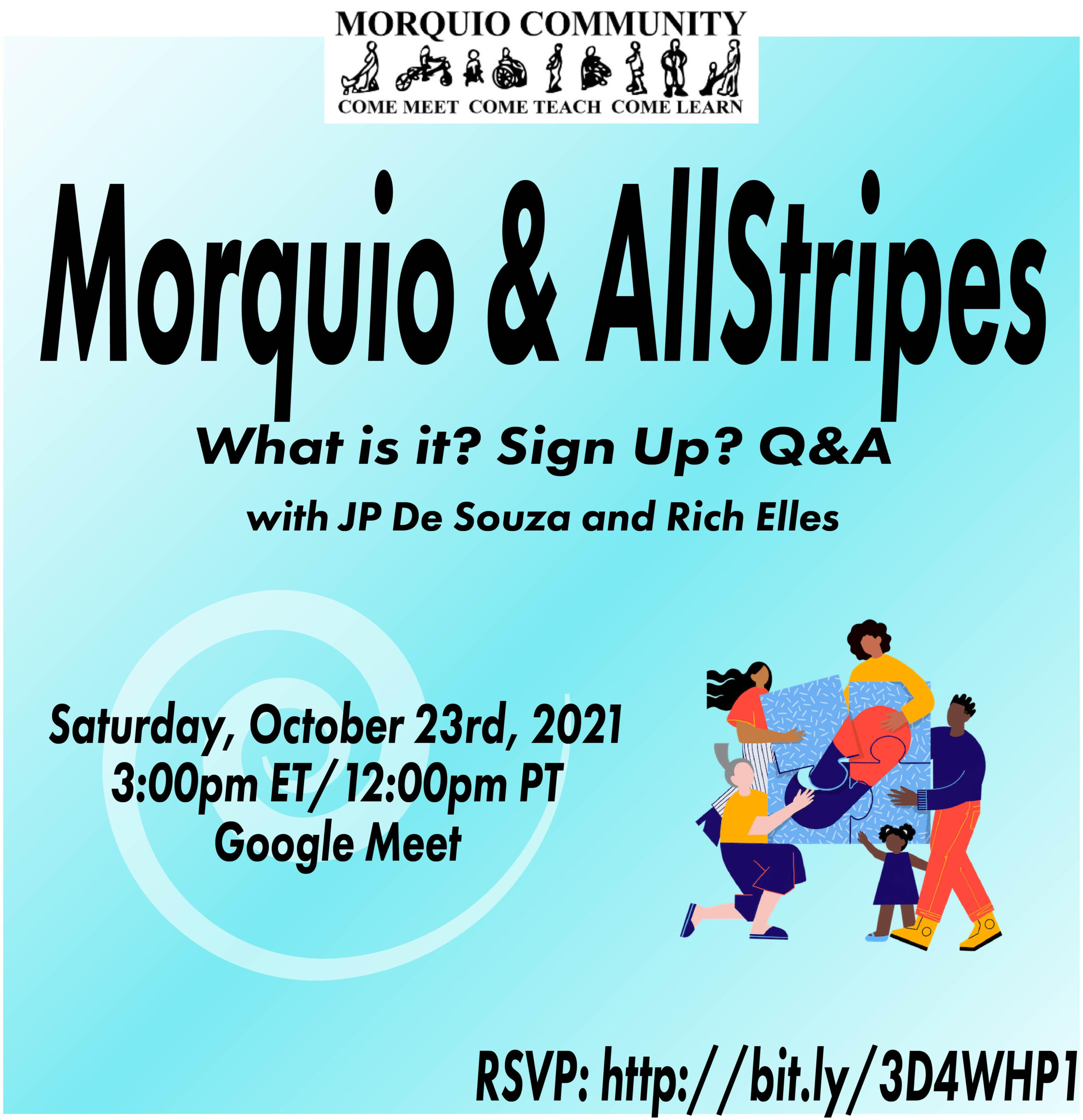 An event poster inviting all to a meeting with Allstripes, hosted by the Morquio Community.